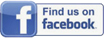 Facebook logo with message to find us on facebook